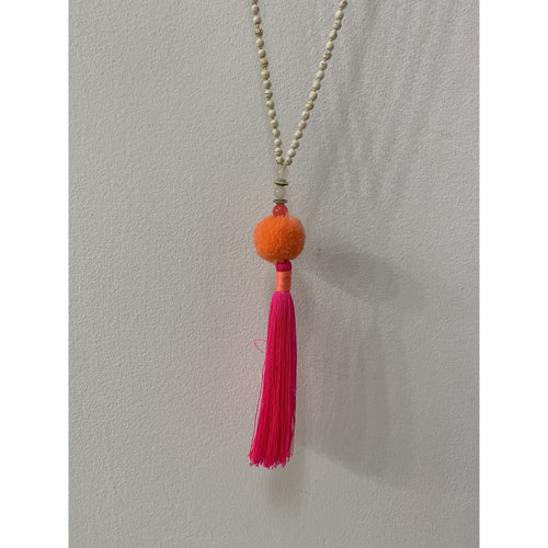 TRIBE AND FABEL NECKLACE POM POM TASSLE
