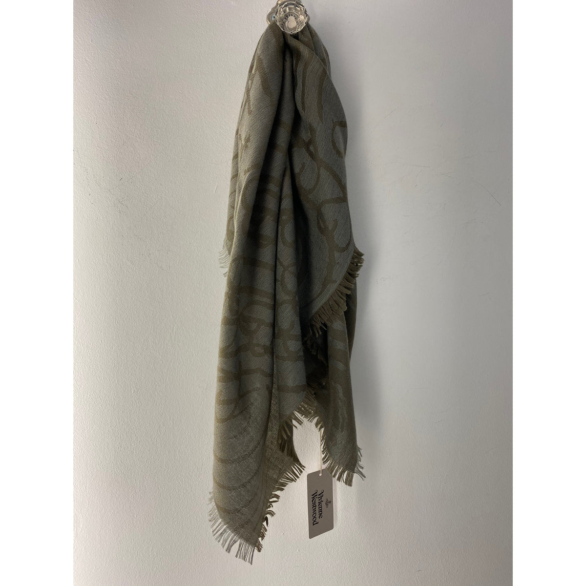 VIVIENNE WESTWOOD SQUARE WOOL MIX SCARF GREEN