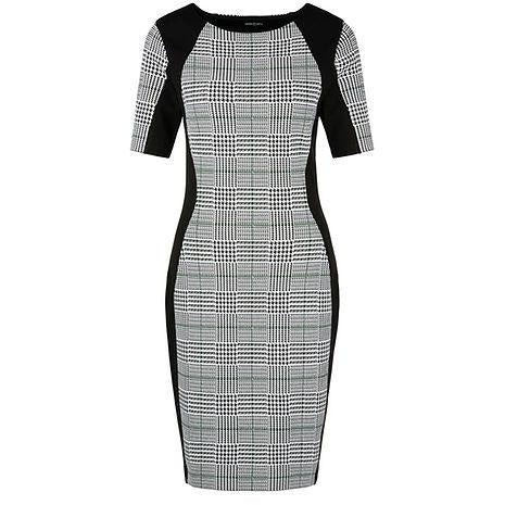 MARC CAIN PRINCE OF WALES CHECK FINE-KNIT BODYCON DRESS BLACK/CHECK