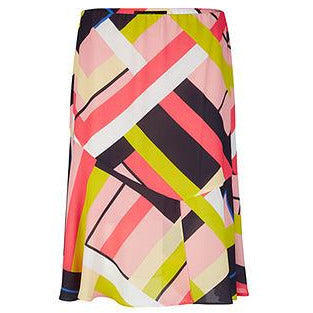 MARC CAIN GEOMETRIC PATTERN CUT AND SEW SKIRT MULTI
