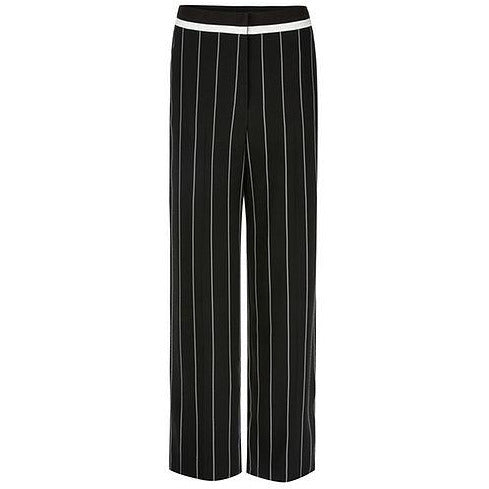 MARC CAIN PINSTRIPED PIPING DETAIL TROUSERS BLACK