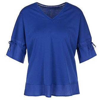 MARC CAIN COTTON MIX BRODERIE ANGLAIS DETAIL TEE BLUE