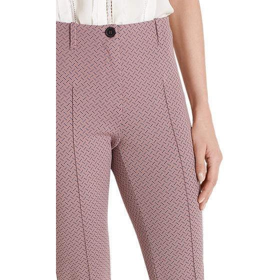 MARC CAIN EXQUISITE DIAMOND PRINT STRETCH PANTS PINK