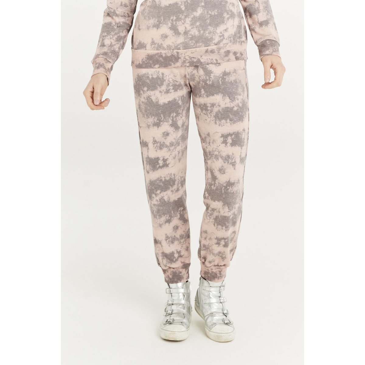 A POSTCARD FROM BRIGHTON CLAUDIA CLOUD PRINT JOGGERS DUSKY PINK