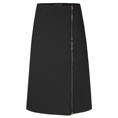 MARC CAIN FLARED NEOPRENE ZIP SKIRT BLACK