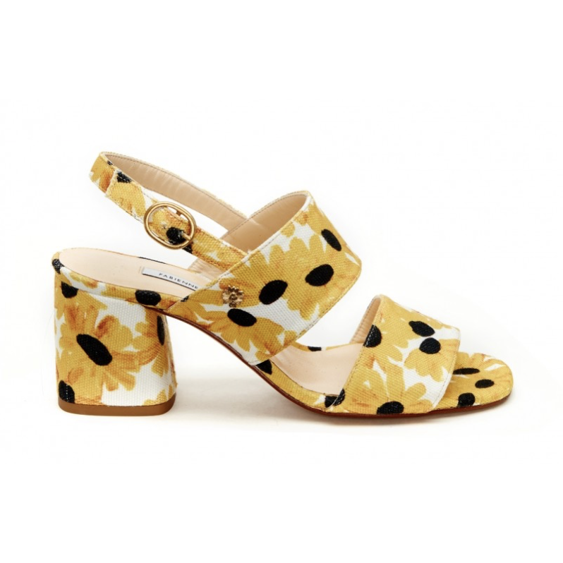 FABIENNE CHAPOT BELLE PATTERNED SUNNY FLOWERS SANDAL WHITE/YELLOW