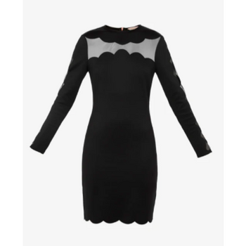 TED BAKER SERENITY JOYOUS SCALLOP BODYCON DRESS BLACK