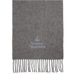 VIVIENNE WESTWOOD ACCESSORIES EMBROIDERED LOGO SCARF GREY