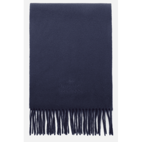 VIVIENNE WESTWOOD ACCESSORIES EMBROIDERED LOGO SCARF NAVY