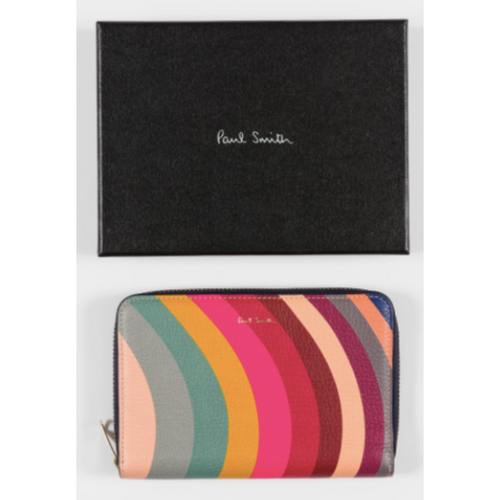 PS PAUL SMITH WOMEN'S MEDIUM SWIRL PRINT LEATHER ZIP AROUND PURSE WALLET
