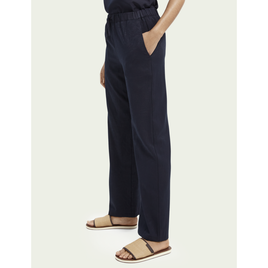WIDE LEG PULL ON TROUSERS NAVY