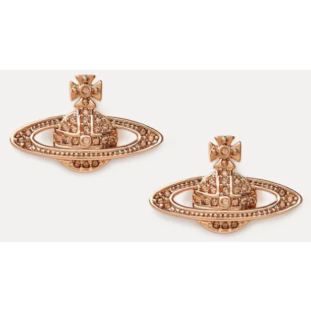 VIVIENNE WESTWOOD JEWELLERY MINI BAS RELIEF EARRINGS PINK GOLD