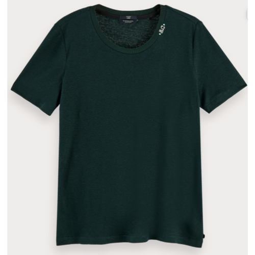 SCOTCH AND SODA CREW NECK RECYCLED FABRIC TSHIRT LAGOON GREEN