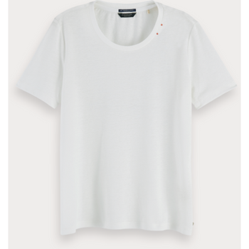 SCOTCH AND SODA RECYCLED FABRIC T-SHIRT OFF WHITE