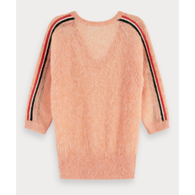 SCOTCH AND SODA FEMININE PRINTED ALPACA MIX PULLOVER PEACH