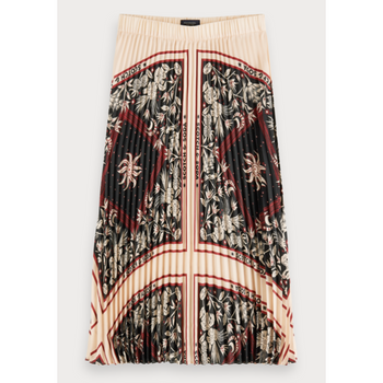 SCOTCH AND SODA PLISSE PRINTED MIDI SKIRT MULTI