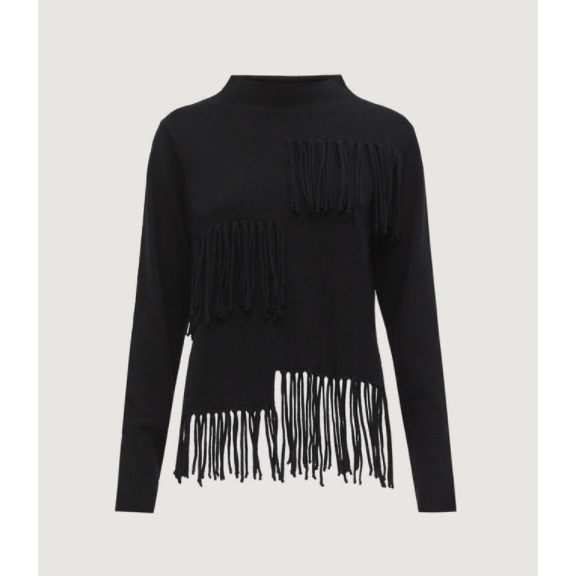 MARELLA PASQUA 100% WOOL FRINGED JUMPER BLACK