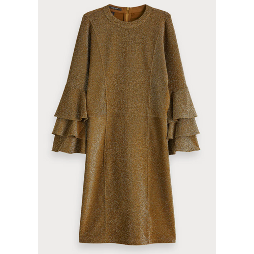 SCOTCH AND SODA RUFFLE LUREX DRESS OLIVE