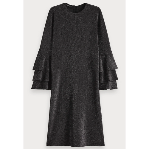 SCOTCH AND SODA RUFFLE LUREX DRESS BLACK