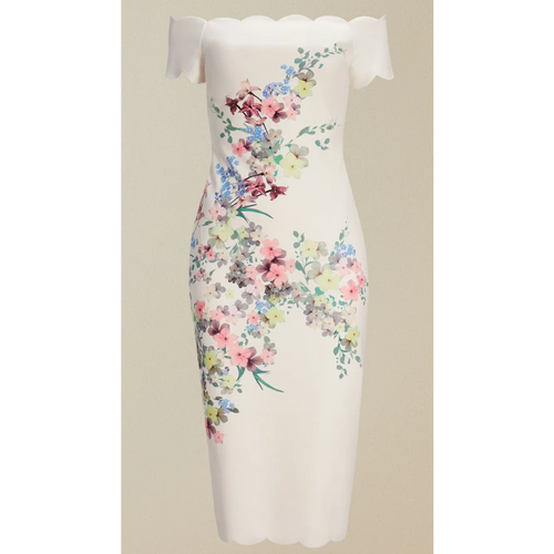 TRIXIIY PERGOLA SCALLOP DETAIL BODYCON DRESS IVORY