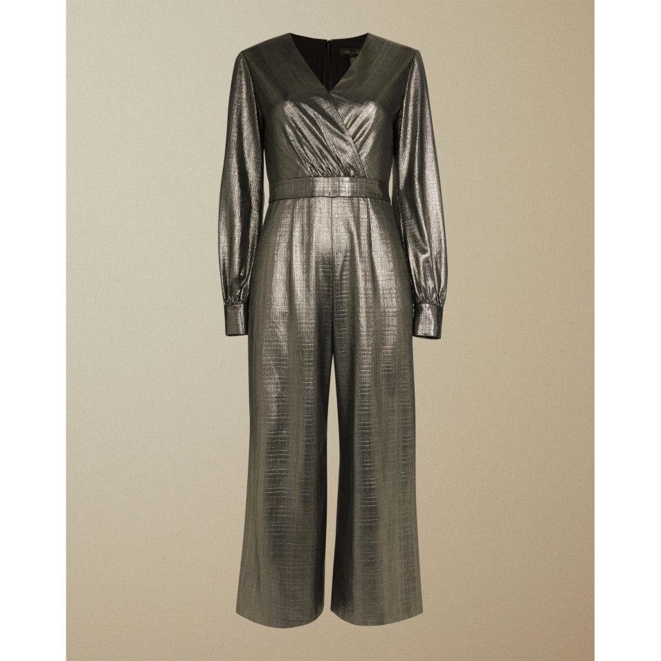 TED BAKER TWIGGA METALLIC WRAP JUMPSUIT GOLD