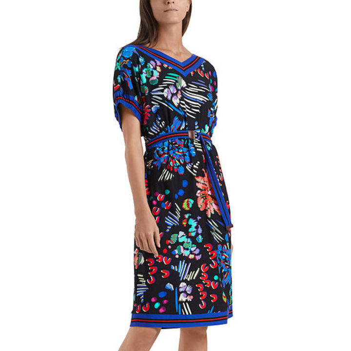 MULTI PRINT DRESS WITH BELT