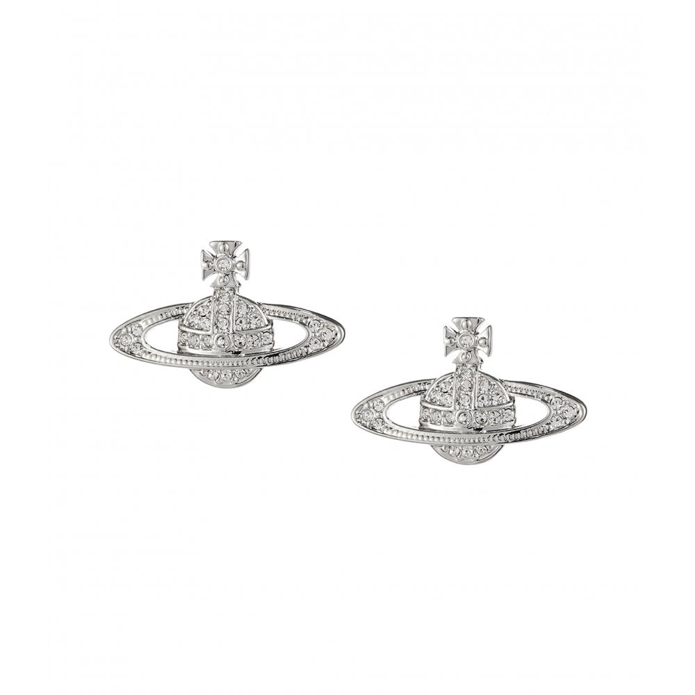 VIVIENNE WESTWOOD JEWELLERY MINI BAS RELIEF EARRINGS RHODIUM/CRYSTAL