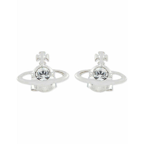 VIVIENNE WESTWOOD JEWELLERY NANO SOLITAIRE EARRINGS RHODIUM/CRYSTAL