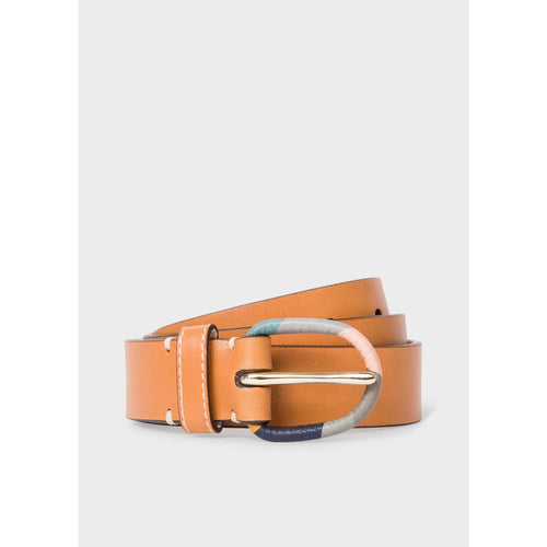 PS PAUL SMITH ACCESSORIES SWIRL BUCKLE BELT TAN
