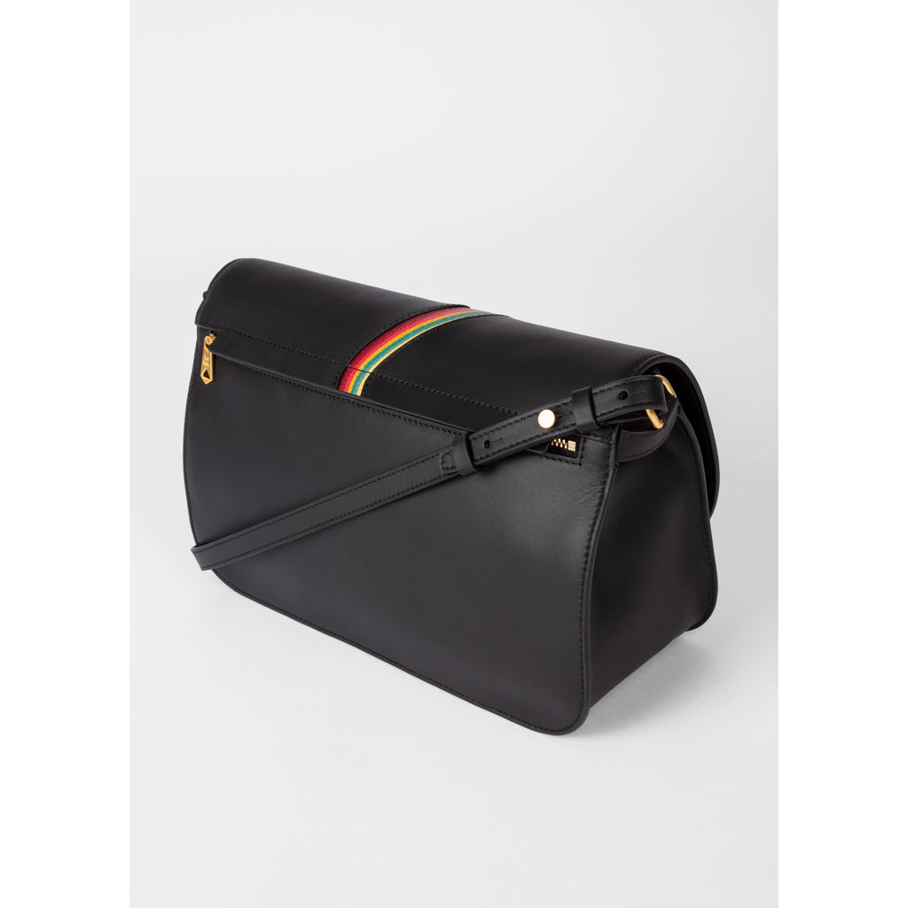 SWIRL TRIM MEDIUM SADDLE BAG BLACK