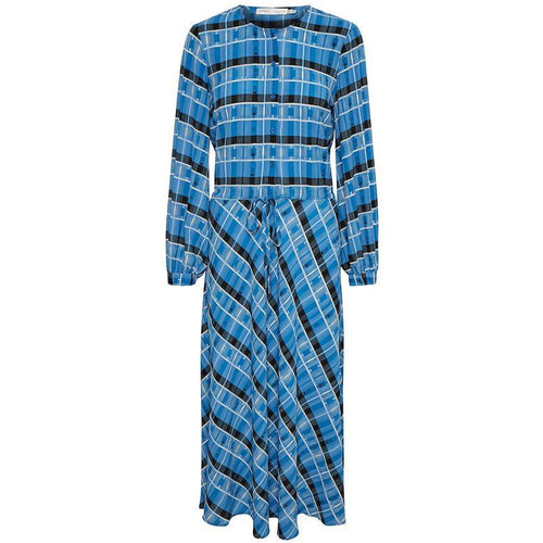 INWEAR LEIGHTON TIE WAIST DRESS MULTI CHECK BLUE