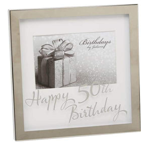 "50TH BIRTHDAY SILVER-PLATED 6"" X 4"" PHOTO FRAME"