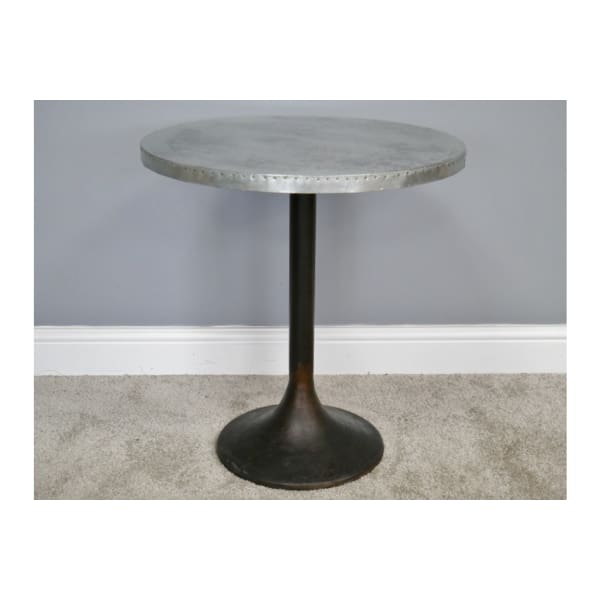 Aluminum Round Topped Cast Iron Side Table - Please contact the store for Shipping Cost