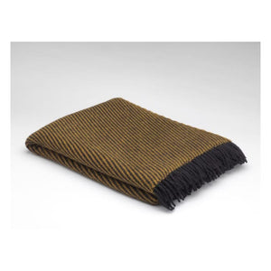 Amber Gold Herringbone Pattern Pure Wool Throw
