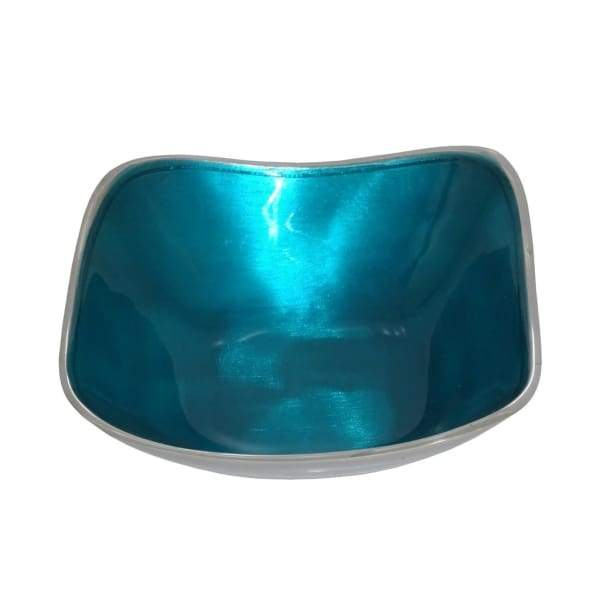 Aqua Blue Enamelled Square Bowl On Polished Silvery Aluminium