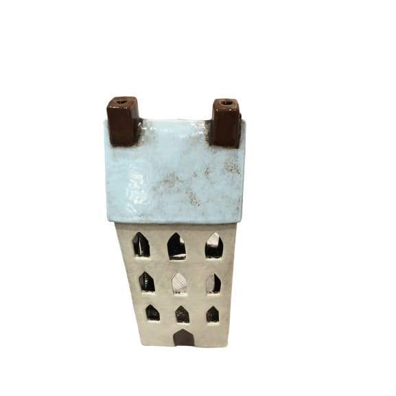 Aqua Ceramic House Lantern - Large
