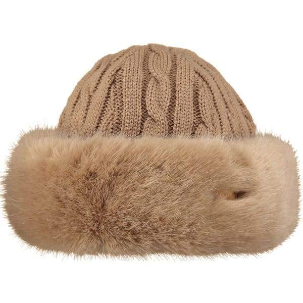 BARTS Faux Fur Cable Band Hat In Light Brown
