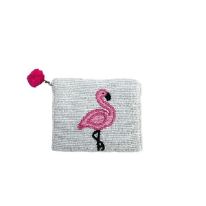 Beaded Purse with Flamingo design by Peace of Mind