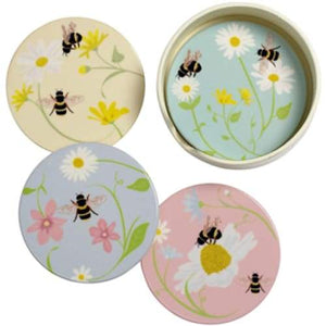 Bee Happy Ceramic Round Coasters - Set Of 4