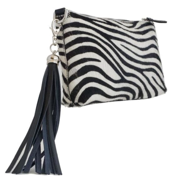 Black And White Italian Furry Leather Zebra Pattern Clutch Bag by Fioriblu