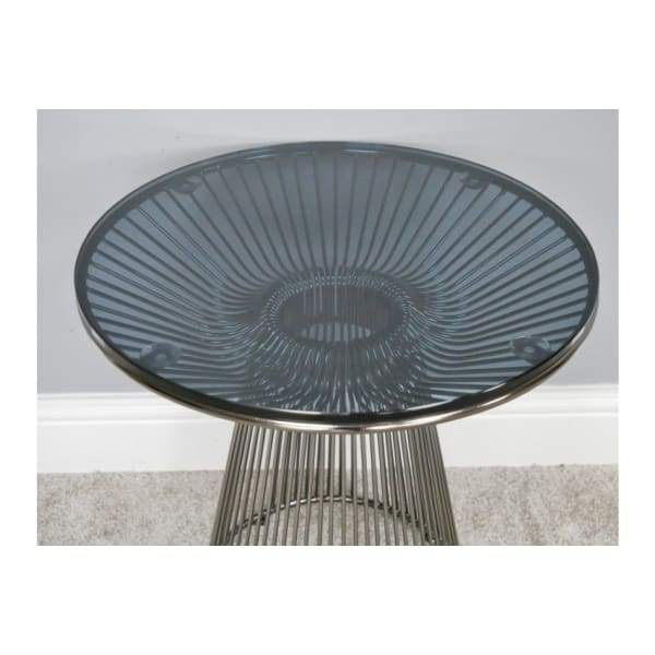 Blackened Chrome Steel Frame & Circular Glass Top Side Table