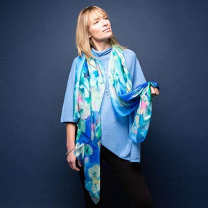 Blue Floral Bouquet Large Silk Scarf by Tilley & Grace