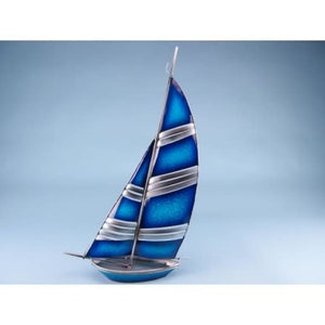 Blue & Silver Metal Yacht - Seaside - Plaque