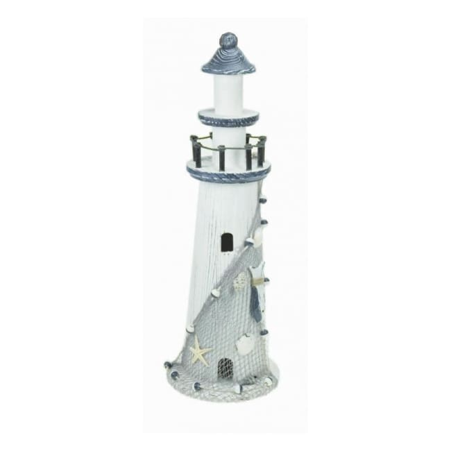 Medium Lighthouse - Blue & White Wooden
