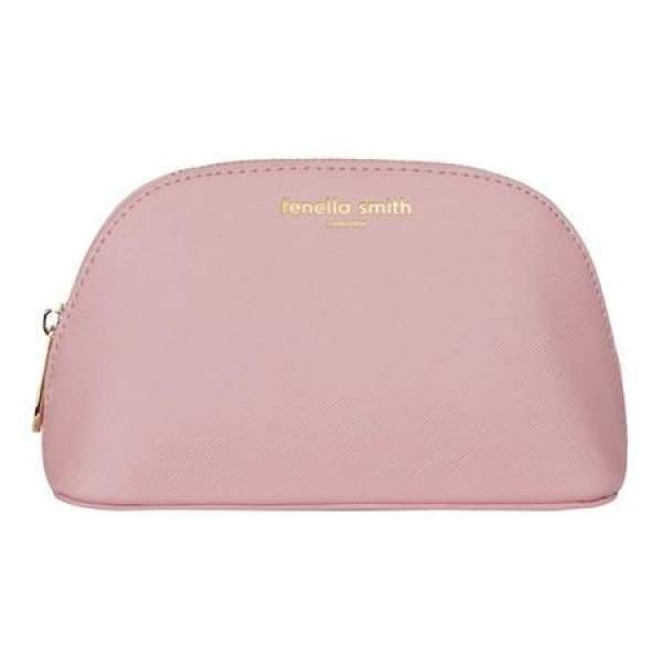 Blush Pink Vegan Leather Oyster Cosmetic Case