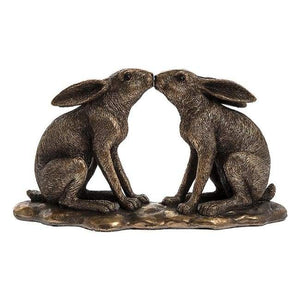 Bronze Hares Kissing
