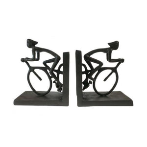 Bronzed Cyclist Bookends - Metal