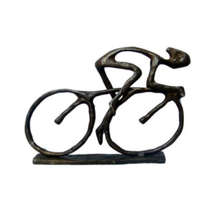 Bronzed Cyclist Sculpture - Metal