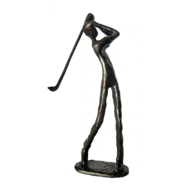 Bronzed Metal Golfer Sculpture