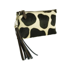 Brown And Cream Dalmation Pattern Leather Clutch Bag by Fioriblu